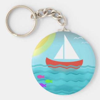 Sailing Blue Sea Cartoon Summer Navy Nautical Chic Keychain
