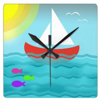 Sailing Blue Sea Cartoon Summer Navy Nautical Chic Square Wall Clock