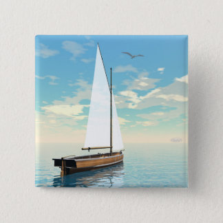 Sailing boat - 3D render 2 Inch Square Button