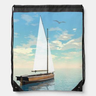 Sailing boat - 3D render Drawstring Bag