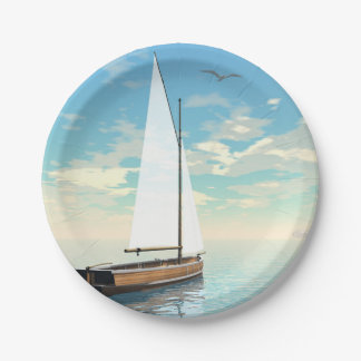 Sailing boat - 3D render Paper Plate