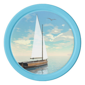 Sailing boat - 3D render Poker Chips