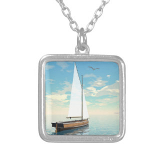 Sailing boat - 3D render Silver Plated Necklace