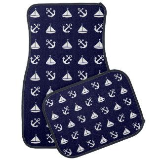 Sailing boat and anchor pattern car mat