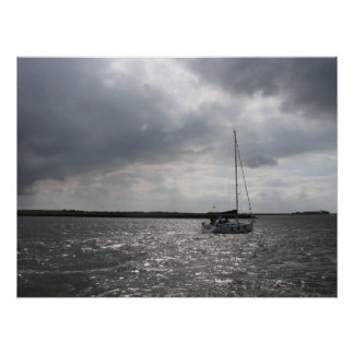 Sailing Boat and Stormy Sky Photo Poster Art