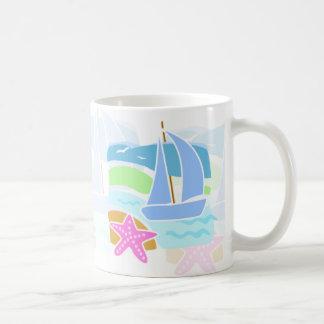 sailing boat basic white mug