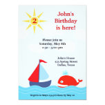 "Sailing Boat Birthday Party Flat Invitation 5"" X 7"" Invitation Card"