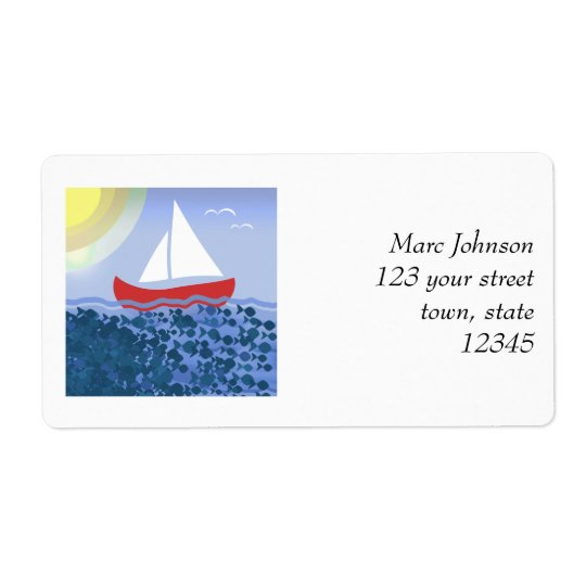 Sailing Boat Blue Sea Summer Bright Beautiful Shipping Label
