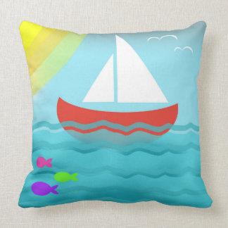 Sailing Boat Blue Sea Summer Bright Cartoon Cute Throw Pillow