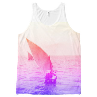 Sailing Boat Colourful Vintage Photo Beachwear All-Over-Print Tank Top