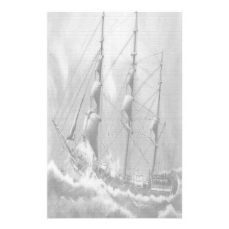 Sailing boat in black and white on high seas stationery