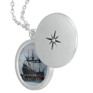 Sailing Boat, Medium Sterling Silver Round Locket