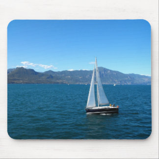 Sailing boat on lake Garda in Italy Mouse Pad