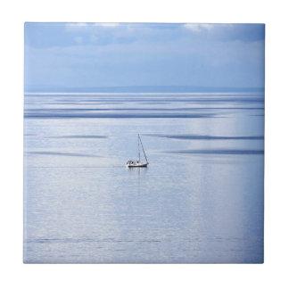 Sailing boat on sea, Nautical, blue water sky Tile