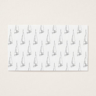 Sailing Boat Pattern. Black and White. Business Card
