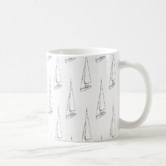 Sailing Boat Pattern. Black and White. Classic White Coffee Mug