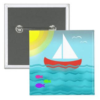 Sailing Boat Red Summer Sea Blue Sunshine Cartoon 2 Inch Square Button