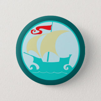 Sailing boat sailing ship 2 inch round button