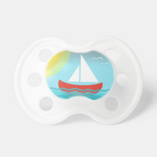 Sailing Boat Summer Sea Blue Waves Cartoon Cute Pacifier