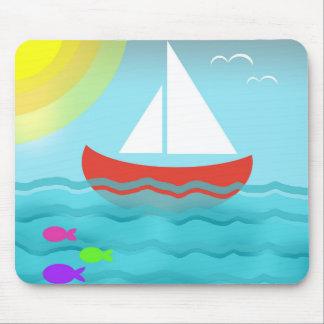 Sailing Boat Summer Sea Cartoon Mouse Pad