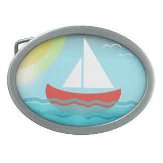 Sailing Boat Summer Sea Cartoon Summer Blue Bright Belt Buckles