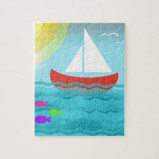 Sailing Boat Summer Sea Cartoon Summer Blue Bright Jigsaw Puzzle