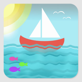 Sailing Boat Summer Sea Cartoon Summer Blue Bright Square Sticker