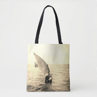Sailing Boat Vintage Photo Ocean Motif Tote Bag