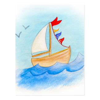 Sailing boat whimsical watercolor postcard