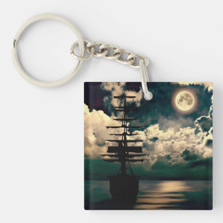Sailing boat with full moon key supporter Single-Sided square acrylic keychain