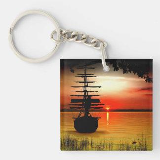 Sailing boat with sunrise key supporter Single-Sided square acrylic keychain