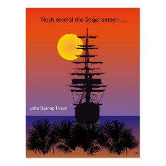 Sailing boat with sunrise postcard