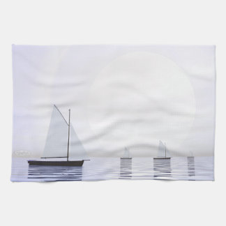 Sailing boats - 3D render Kitchen Towel