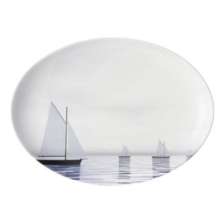 Sailing boats - 3D render Porcelain Serving Platter