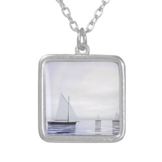 Sailing boats - 3D render Silver Plated Necklace