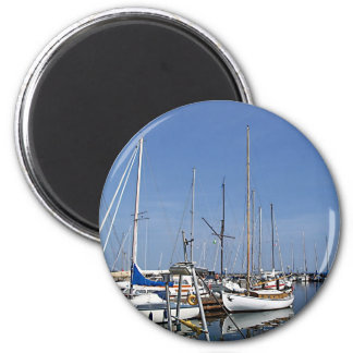 Sailing boats in the harbour 2 inch round magnet