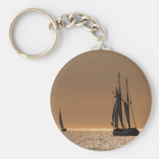 Sailing boats on shore of the Baltic Sea Keychain