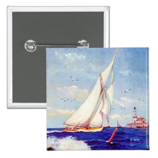 Sailing By The Lighthouse by Albert B. Marks 2 Inch Square Button