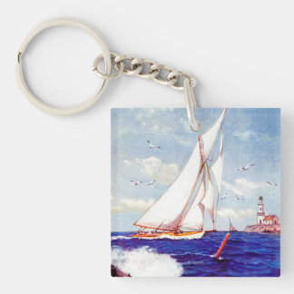 Sailing By The Lighthouse by Albert B. Marks Double-Sided Square Acrylic Keychain