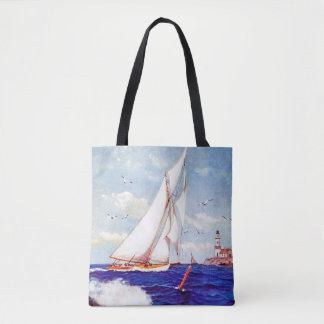Sailing By The Lighthouse by Albert B. Marks Tote Bag