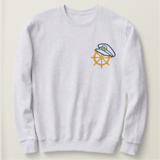 Sailing Captain's Wheel Embroidered Sweatshirt