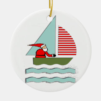 Sailing Christmas Ceramic Ornament