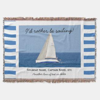 Sailing Custom Sailboat Photo Nautical Striped Throw