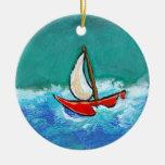 Sailing fun original boat painting colourful art round ceramic ornament