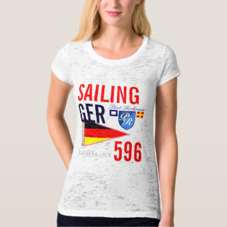 Sailing GER Germany Number 596 Girly Nautical T-Shirt