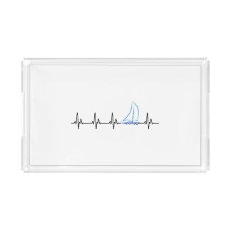 Sailing Heartbeat Funny Sailboat Acrylic Tray