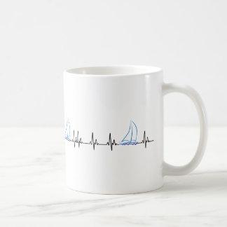Sailing Heartbeat Funny Sailboat Coffee Mug