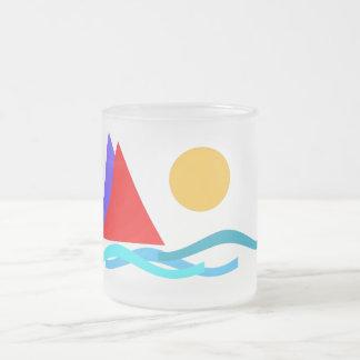 Sailing - I love summer Frosted Glass Mug