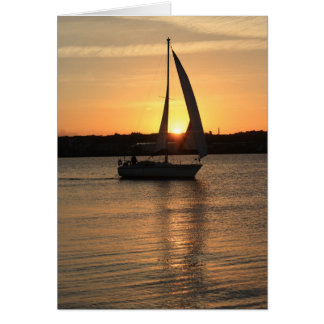 Sailing in Cardiff Bay at Sunset. Card
