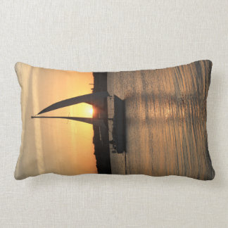Sailing in Cardiff Bay at Sunset. Lumbar Pillow